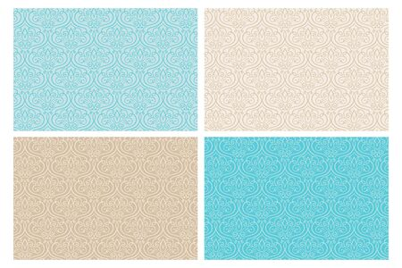 Ornamental seamless pattern collection with decorative curls and swirls. Hand drawn single line. Turquoise and sand color palette. Perfect for elegant wedding invitation cards, backgrounds and wallpapers. 向量圖像