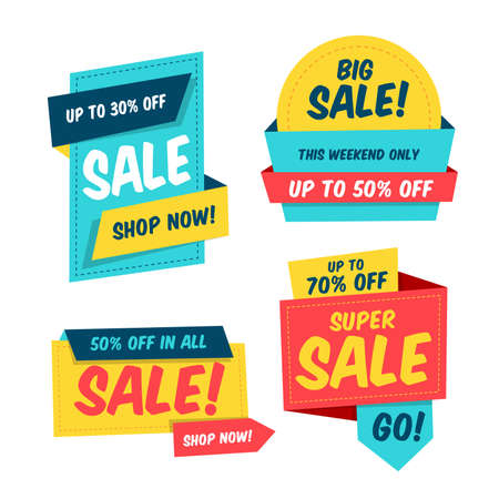 Colorful sale banner template collection. Origami paper style. Isolated vector elements. Easily editable design.
