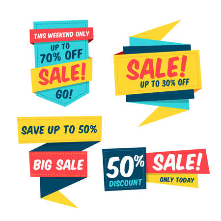 Colorful sale label template collection. Origami paper style. Isolated vector elements. Easily editable design.
