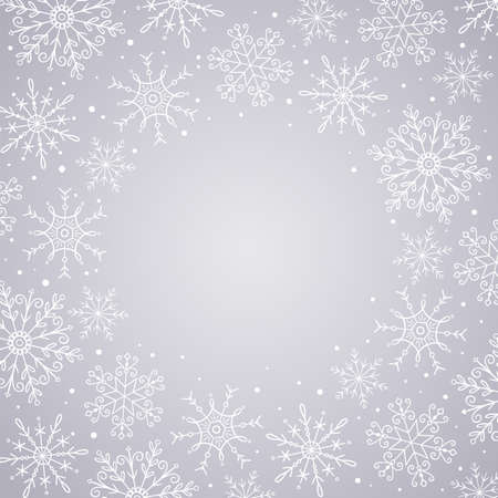 Hand drawn snowflakes frame. White snowflakes isolated on silver background. Perfect for winter card designs. Vector illustration.