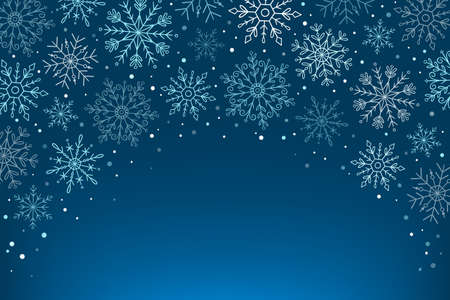 Hand drawn blue snowflakes background. Snowflakes isolated on blue background. Blank space for adding text. Vector illustration.