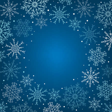Hand drawn snowflakes frame. Snowflakes isolated on blue background. Perfect for winter card designs. Vector illustration. 向量圖像
