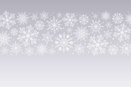 Snowflakes background. White snowflakes isolated on silver background. Hand drawn horizontal design banner. Perfect for winter designs. Vector illustration. 向量圖像