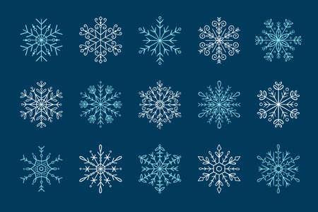 Hand drawn snowflake icon set. Vector illustration, isolated on dark blue background.