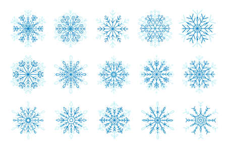 Hand drawn blue snowflake icon set. Vector illustration, isolated on white background.