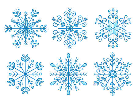 Hand drawn snowflake collection. Vector illustration, isolated on white background. Set 2 of 2.