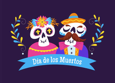 Day of Dead Label. Cartoon Mexican skull couple. Cute vector Illustration.