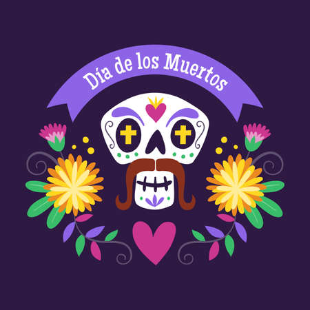 Day of Dead Label. Cartoon Mexican male skull with floral decoration and text in Spanish. Cute vector Illustration.