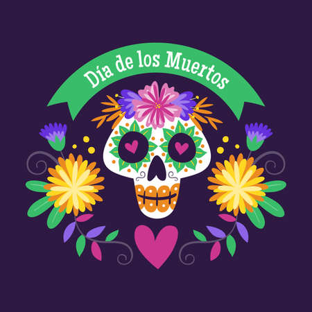 Day of Dead Label. Cartoon Mexican female skull with floral decoration and text in Spanish. Cute vector Illustration.