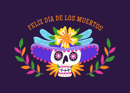 Day of Dead Label. Cartoon Mexican woman. Catrina with a hat. Cute vector Illustration.