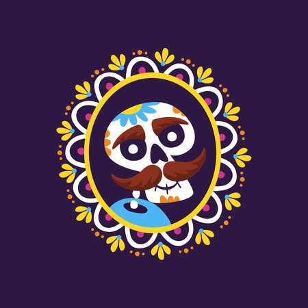 Day of Dead Label. Cartoon Mexican male skull portrait into a decorative frame. Cute vector Illustration.