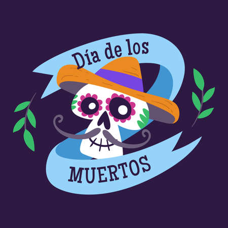 Day of Dead Label. Cartoon Mexican male skull and text ribbon. Cute vector Illustration.