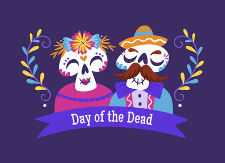 Day of Dead (Day of the Dead) Banner. Cartoon Mexican skull couple with text in english. Cute vector Illustration.