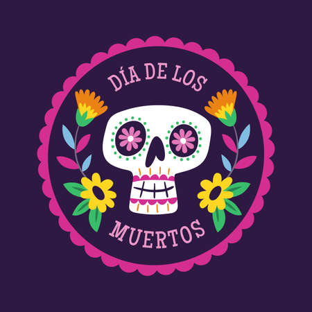 Day of Dead Label. Cartoon Mexican female skull into a decorative frame. Cute vector Illustration.