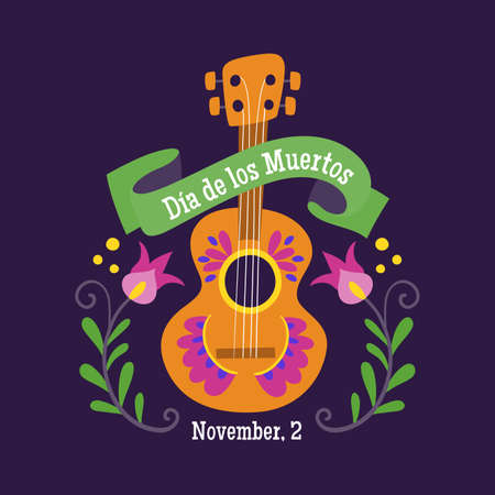 Day of Dead Label. Cartoon Mexican guitar and decorative ribbon with text in spanish. Cute vector Illustration. 向量圖像
