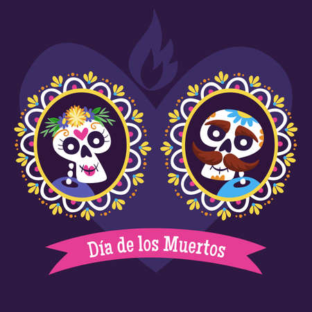 Day of Dead Label. Cartoon Mexican skull couple portrait into a decorative frame. Cute vector Illustration.