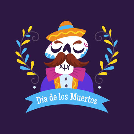 Day of Dead Label. Cartoon Mexican Skull with a ribbon and text decoration. Cute vector Illustration.