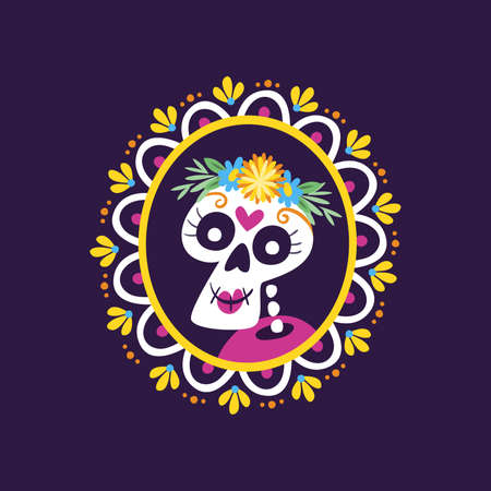 Day of Dead Label. Cartoon Mexican female skull portrait into a decorative frame. Cute vector Illustration.