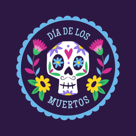 Day of Dead Label. Cartoon Mexican male skull into a decorative frame. Cute vector Illustration.