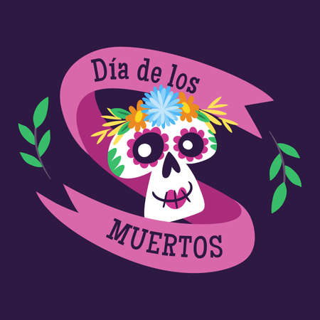 Day of Dead Label. Cartoon Mexican female skull and text ribbon. Cute vector Illustration.