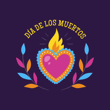 Day of Dead Label. Cartoon Mexican heart with text in Spanish. Cute vector Illustration.
