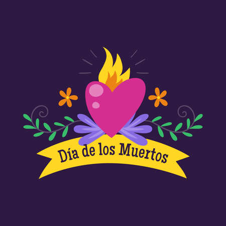 Day of Dead Label. Cartoon Mexican heart with text in Spanish in a ribbon decoration. Cute vector Illustration.