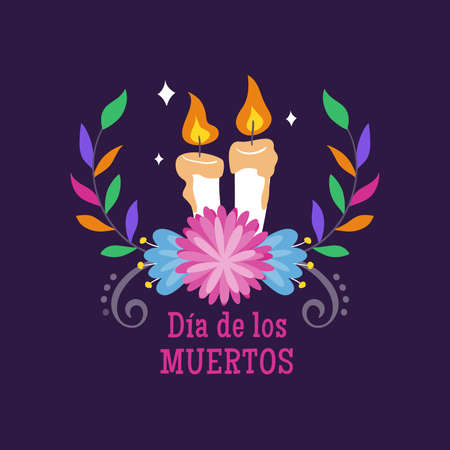 Day of Dead Label. Cartoon candles and decorative mexican flower. Cute vector Illustration.