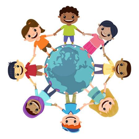 Smiling children holding hands around the world. Children's Day concept.