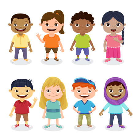 Multicultural children isolated on white background. World Children's Day concept.