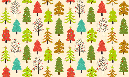 Christmas seamless pattern with flat decorated trees isolated on light background.