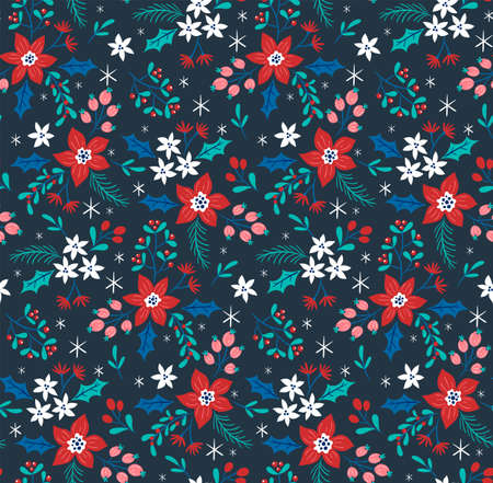 Christmas seamless pattern with winter flowers and little snowflakes. Dark blue background.