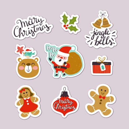 Collection of Christmas stickers with cute letterings, character designs and elements. Eps10 vector illustration.