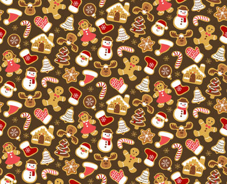 Christmas seamless pattern with gingerbread cookies isolated on dark brown background. Warm colors.