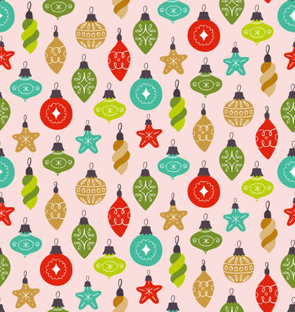 Christmas seamless pattern with cute decorative ball ornaments, isolated on pink background. Иллюстрация