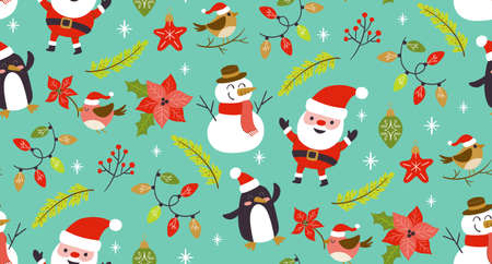 Christmas seamless pattern with cute christmas characters and plants. Turquoise background.