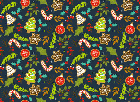 Christmas seamless pattern with seasonal leaves; branches and cookies. Dark blue background.