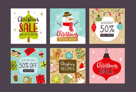 Collection of christmas sale square banners for social media posts.