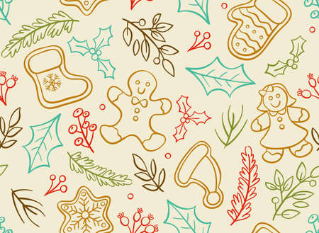 Christmas seamless pattern with hand drawn decorative elements isolated on light background. Иллюстрация
