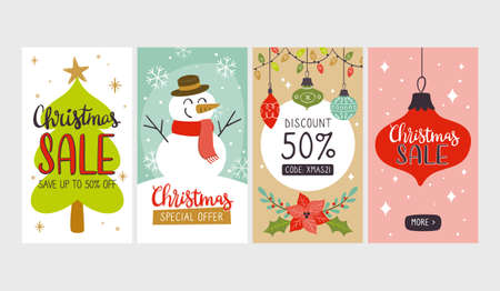 Collection of christmas sale vertical banners, perfect for social media posts and stories.