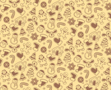 Christmas seamless pattern with hand drawn gingerbread cookies isolated on yellow background.