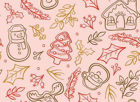 Hand drawn christmas seamless pattern with cute decorative elements isolated on pink background.