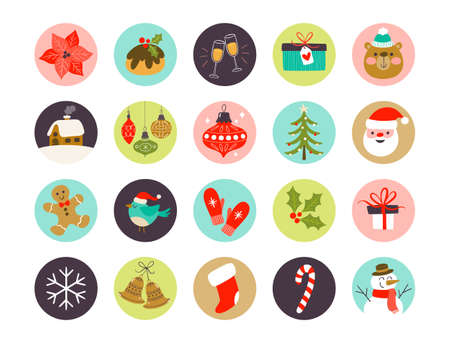 Collection of Christmas highlight cover icons, perfect for adding in social media posts.