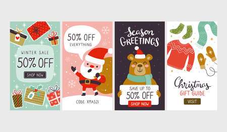Collection of christmas sale vertical banners, perfect for social media posts and stories