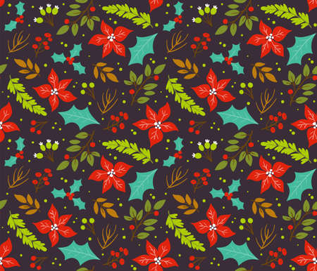 Christmas seamless pattern with winter flowers and branches isolated on dark brown background.