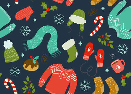Christmas seamless pattern with winter clothes and accessories. Dark blue background. Keep warm concept. Vectores
