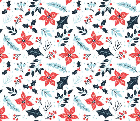 Floral Christmas seamless pattern with cold winter flowers and branches. White background.