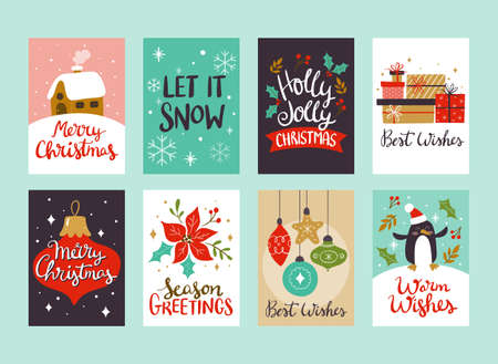Collection of Christmas greeting cards, perfect to include in Christmas gifts. Eps10 vector illustration.