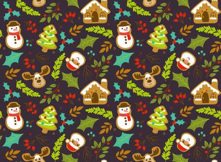 Christmas seamless pattern with seasonal leaves; branches and christmas gingerbread cookies. Dark brown background. Иллюстрация