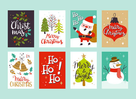 Collection of Christmas greeting cards, perfect to include in Christmas gifts. Eps10 vector illustration. Vectores
