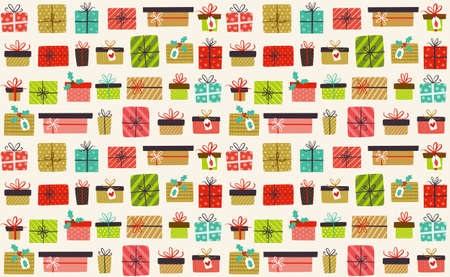 Funny Christmas seamless pattern full of little gift boxes isolated on light background.